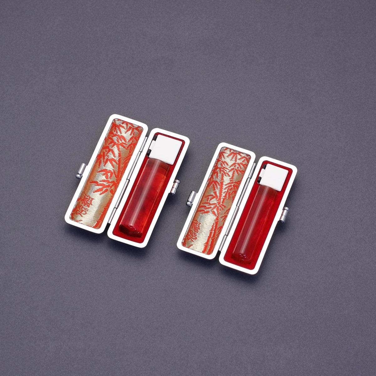 印鑑 セット 2本/実印 銀行印 セット/高級エンボスケースx2個付/印鑑セット-L/琥珀/16.5mm13.5mm/印鑑10年保証付/印鑑プレビュー無料/トップクラスの匠-大周先生の美しい印影を匠の技で彫る超高級印鑑☆はんこ 実印 銀行印 セットキャンペーン