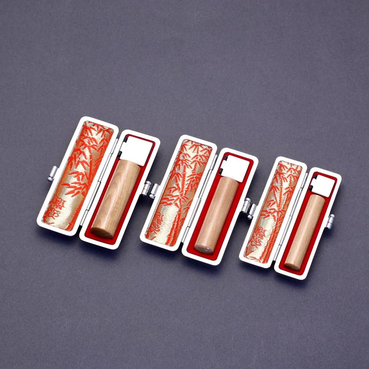 印鑑 セット 3本 実印 銀行印 認印 セット 高級本トカゲケースx3個付 印鑑セット-S オノオレカンバ 無垢印材 15mm12mm10.5mm 印鑑10年保証付 印鑑プレビュー無料 トップクラスの匠-大周先生の美しい印影を匠の技で彫る超高級印鑑