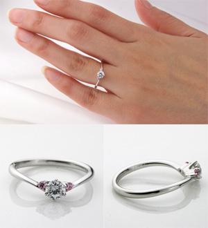 婚約指輪 エンゲージリング (鑑定書付) プラチナ ダイヤモンド リング 0.3ctアップ(0.3ct, up) 3エクセレントカット(3excellent) ハートアンドキューピット(h&c) VS2クラス Eカラー 立て爪セッティング ピンクダイヤモンド付  ラウンドブリリアント