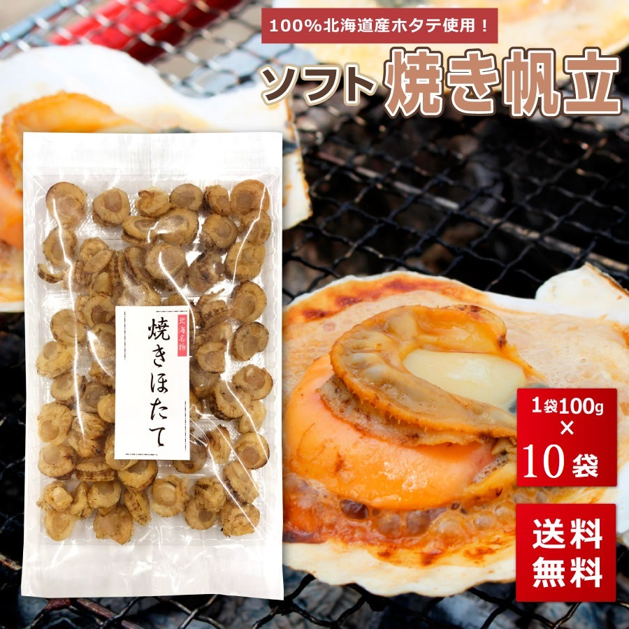 北海道産 焼きほたて 干し貝柱 100g 10袋 おつまみ ポイント消化 珍味 送料無料 柔らかい 乾物 乾燥 買い回り 買いまわり s10