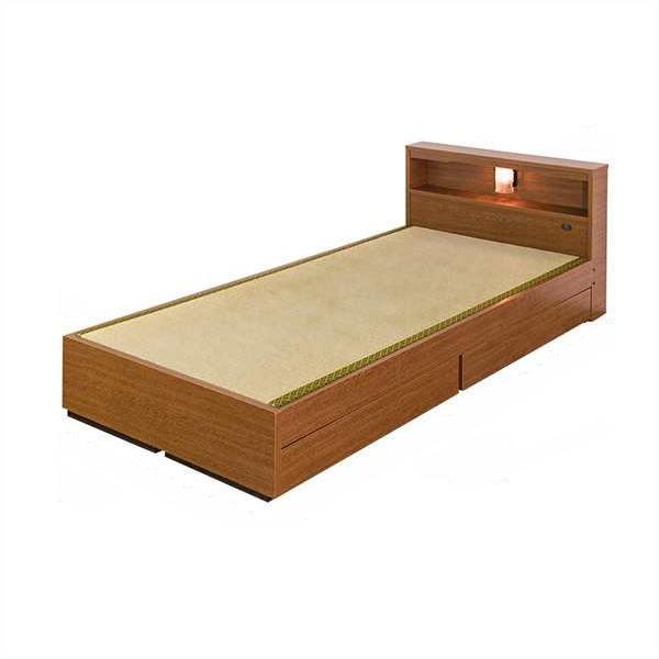 棚照明引出付畳ベッド セミダブル引き出し BED ベット ライト SD 【送料無料】【代引不可】