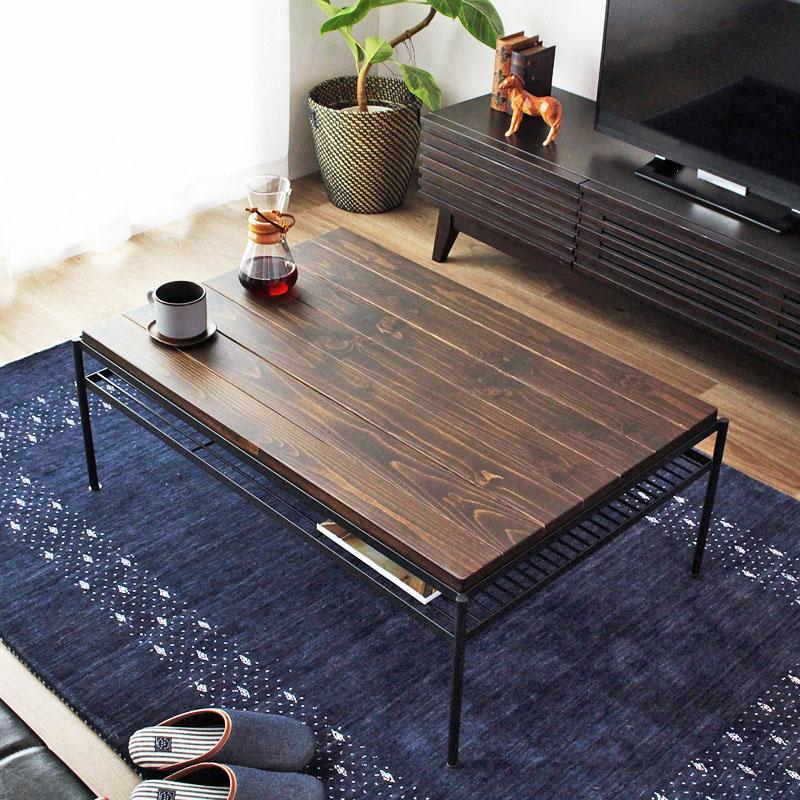 ヴィンテージデザインリビングテーブル 【Viande】ローテーブル ヴィンテージ 北欧 無垢 おしゃれ