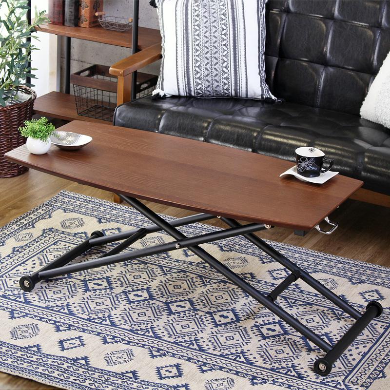 昇降テーブル 【terte】 幅100cm 完成品 ガス圧 高さ調節 木製天板