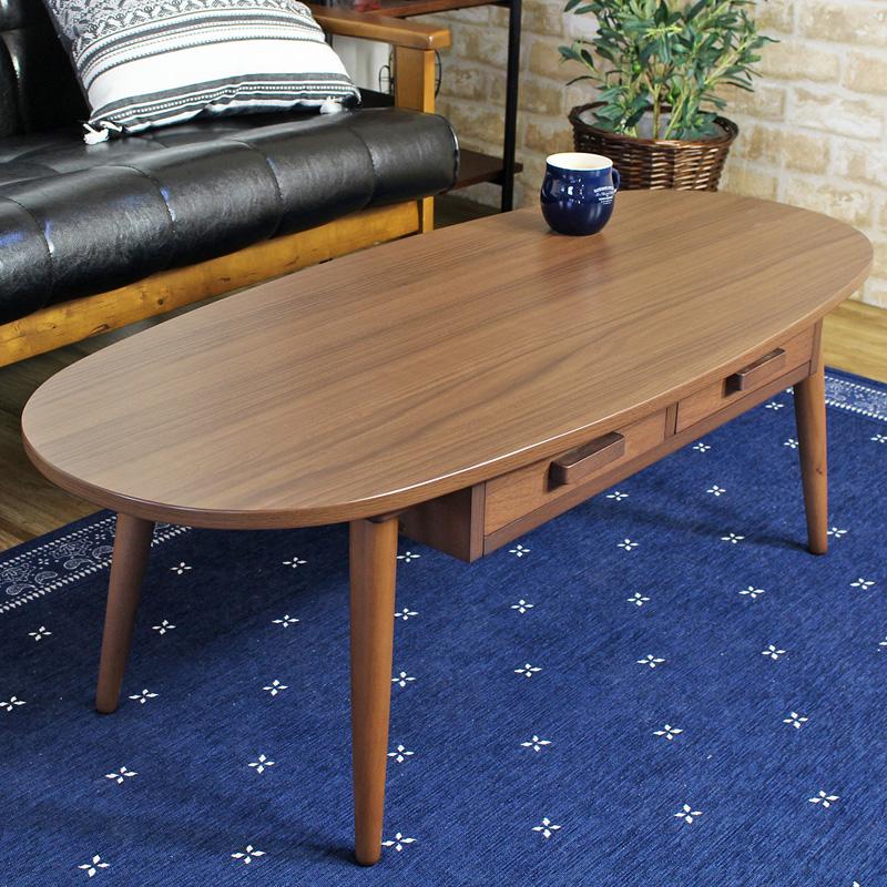 引き出し付きリビングテーブル 【Kreis】 Lサイズ ローテーブル 引き出し付き テーブル 北欧 引き出し 幅110