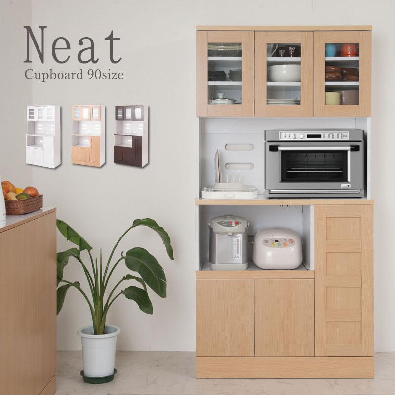 【5%OFFクーポン配布中】 キッチンシリーズ Neat カップボード 幅90 ナチュラル 【代引不可】 食器棚 キッチンボード 食器収納 【送料無料】