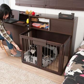 【ポイント11倍】折りたたみ型ケージ 省スペース収納付き折りたたみ型ケージ幅90 ダークブラウン 犬 ゲージ 犬 ゲージ おしゃれ 犬 ゲージ 室内