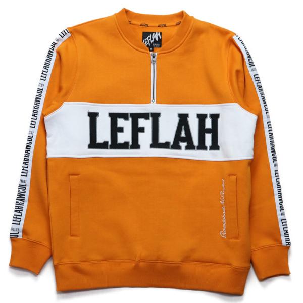 Leflah ハーフジップスウェット オレンジ  zip henry sweat ORG   (レフラー)(裏起毛)  (トレーナー)