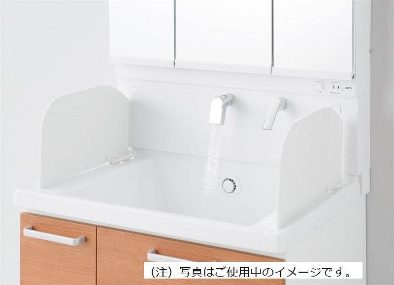 洗面化粧台で小さなペットを洗う時に水はねが防止出来て便利です。 LO146TOTO 水飛び出し防止パネル