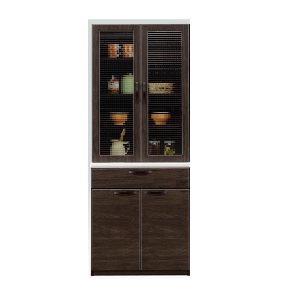 食器棚 キッチンボード 完成品 組み立て不要 国産 日本製 幅70 奥行き45 高さ180 ブラウン ブラックシンプル スタイリッシュ オシャレ シック モダン