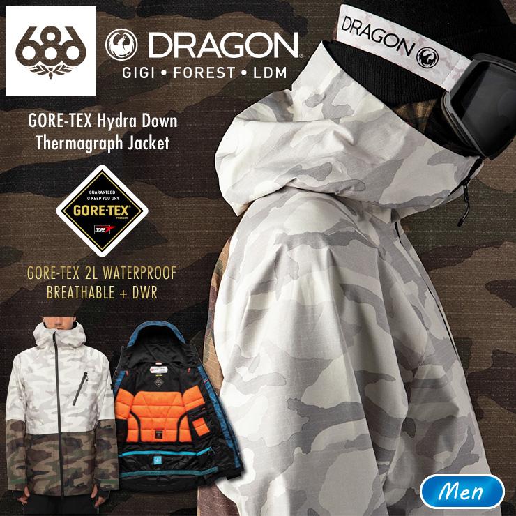 2021 メンズ アウトレット 20-21 686 シックスエイトシックス GORE-TEX サービス Hydra Down スノーウェア スキーウェア Thermagraph JSBCスノータウン ゴアテックスダウンジャケット 数量は多 スノーボード Jacket ウェア