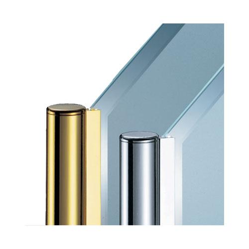ガラススクリーンポール(チャンネルポール) Kタイプ 角二方 38mm x L300mm 平キャップ 丸座固定 ゴールド