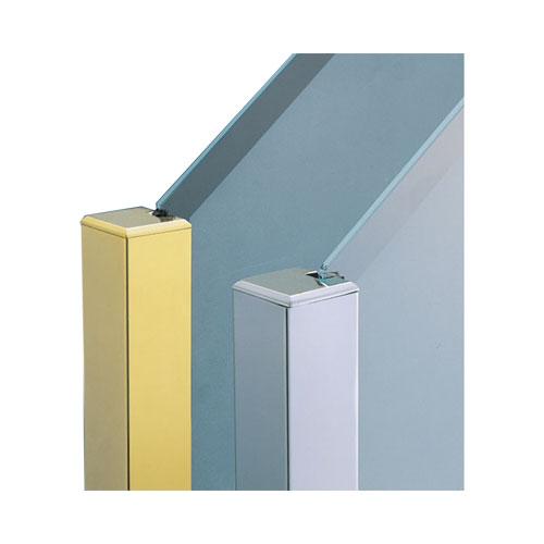 ガラススクリーンポール(ブースバー) Pタイプ 角二方 40mm(角型) x L450mm 四角すい頭 角座固定 ゴールド:オンラインショップ e-金物