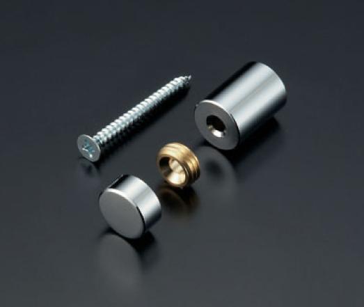化粧ビスセットのサイズ・規格が豊富。真鍮製・ステンレス製・アルミ製・メッキ仕上げなど。POPや看板、サインボードなどに 化粧ビスセット(真鍮製) フラットタイプ EPF-B13F-10 クローム