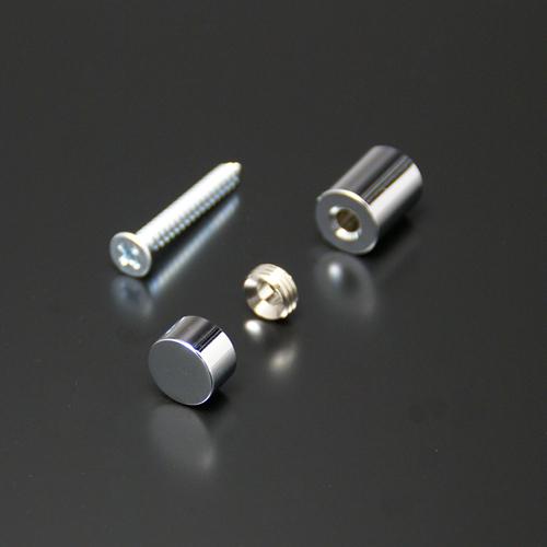 化粧ビスセットのサイズ・規格が豊富。真鍮製・ステンレス製・アルミ製・メッキ仕上げなど。POPや看板、サインボードなどに 化粧ビスセット(真鍮製) フラットタイプ EPF-M12F-15 クローム