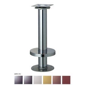 床面固定オートリターン式イス脚 リターン76 カバー220φ パイプ76.3φ 受座155x155(2/3回転式) 基準色塗装 高さ700mmまで
