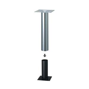 床面固定式テーブル脚 ツイン101 パイプ101.6φ 受座240x240 クロームメッキ 高さ700mmまで