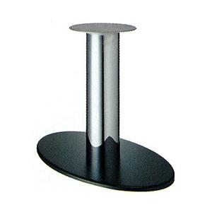 テーブル脚 オーバルS7700 ベース700x420 パイプ76.3φ 受座280φ 黒紛体/クロームパイプ AJ付 高さ700mmまで