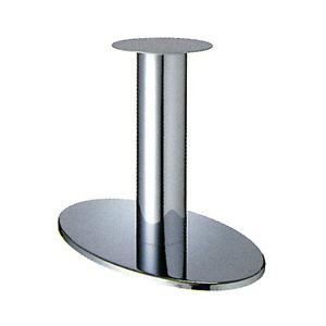 テーブル脚 オーバルS7700 ベース700x420 パイプ101.6φ 受座280φ クロームメッキ AJ付 高さ700mmまで