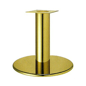 テーブル脚 ラウンドS7600 ベース600φ パイプ101.6φ 受座240x240 ゴールドメッキ AJ付 高さ700mmまで
