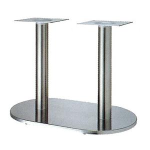 テーブル脚 ロマンSM7750 ベース750x450 パイプ76.3φx2 受座240x240 ステンレス AJ付 高さ700mmまで