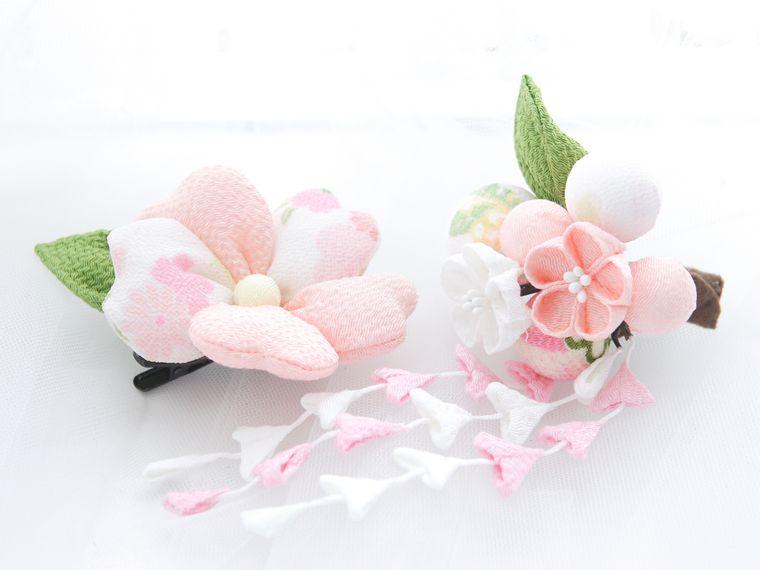hcj3018 髪飾り2点 【ピンク×白】
