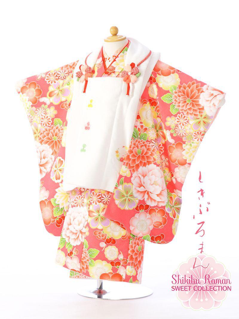 【レンタル】 式部浪漫 被布:白 着物:ピンク 七五三 3歳 貸衣装 往復送料無料 髪飾り モダンアンテナ レトロ モダン | フルセット 七五三着物 アンティーク 女の子 三歳 被布セット 753 衣装 着物レンタル 子供 草履 レンタル着物 きもの kimono 小物セット 3才 [E-H-349B]