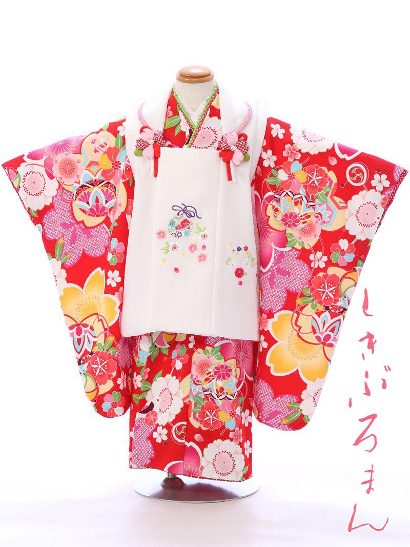 【レンタル】 七五三 3歳 貸衣装 往復送料無料 髪飾り 式部浪漫 被布:白 着物:赤 | レトロ フルセット モダン 七五三着物 女の子 三歳 被布セット 753 セット 衣装 小物 着物レンタル 子供 着付け 草履 レンタル着物 きもの 和服 kimono 小物セット 3才 キモノ [E-H-367]