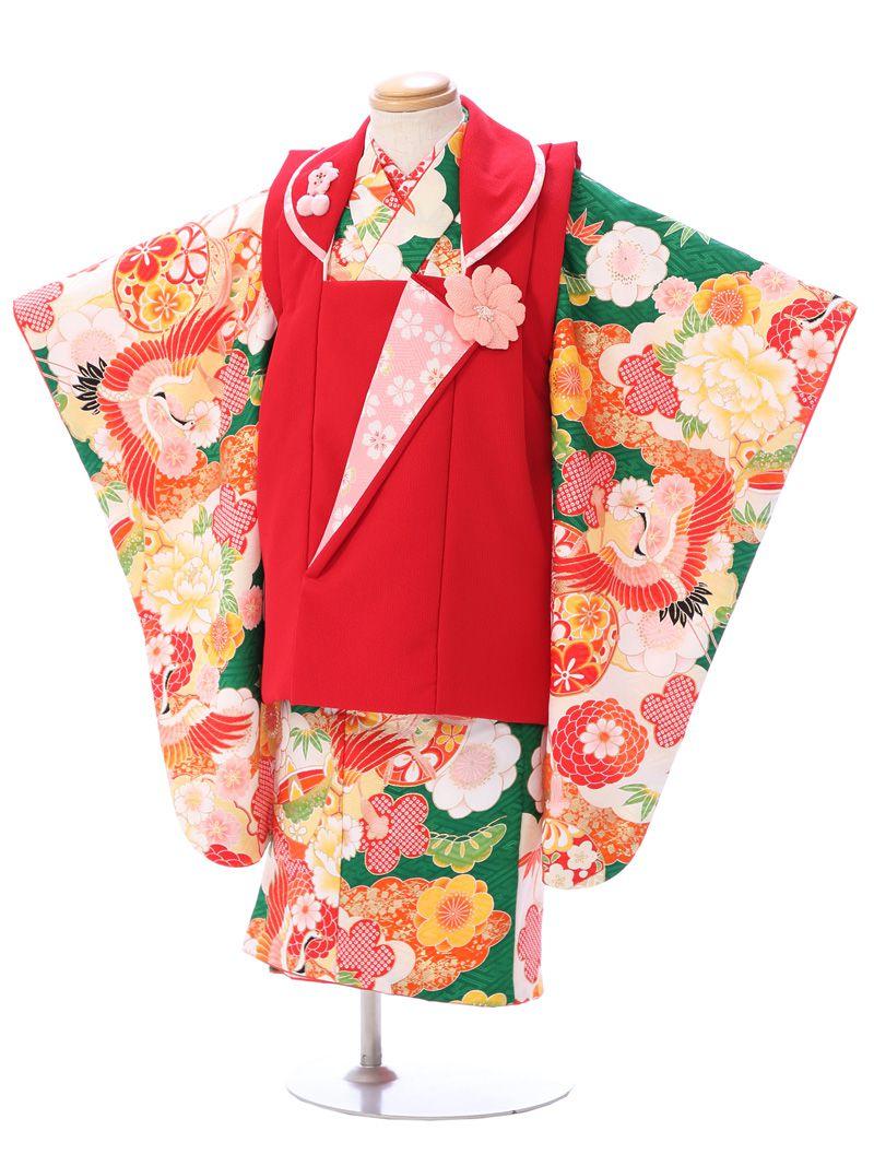 【レンタル】式部浪漫 スイートコレクション|七五三着物3歳 女の子(被布)フルセット(グリーン系)|女の子(三歳)
