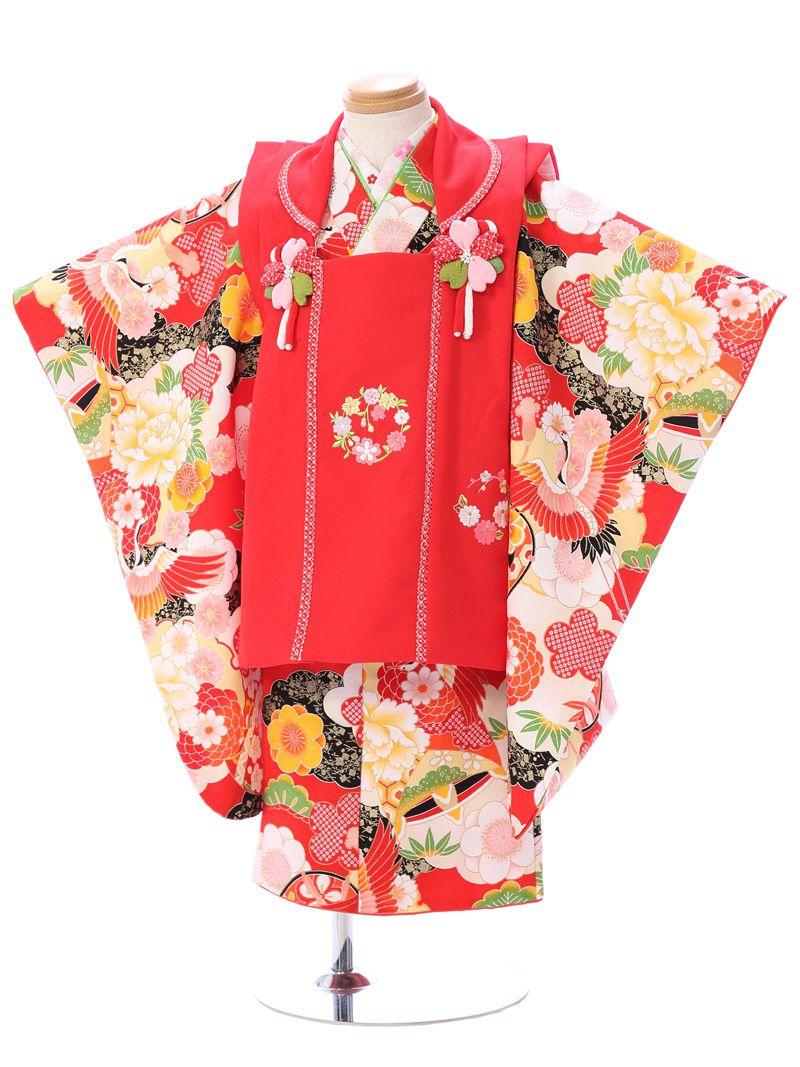 【レンタル】式部浪漫 スイートコレクション|七五三着物3歳 女の子(被布)フルセット(赤系)|女の子(三歳)