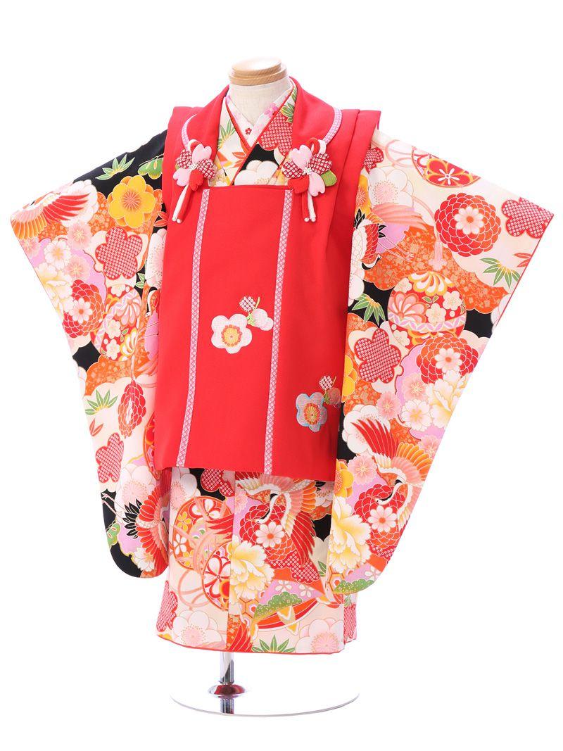 【レンタル】七五三 3歳女児 被布着物セット 式部浪漫女の子(被布)フルセット(赤白系)|女の子(三歳)
