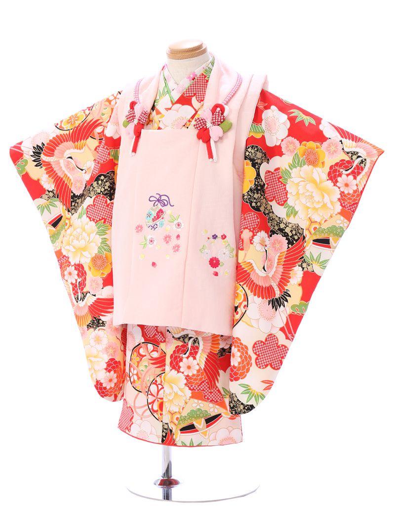 【レンタル】3歳女の子 式部浪漫|女の子(被布)フルセット(赤系)(ピンク系)|女の子(三歳)