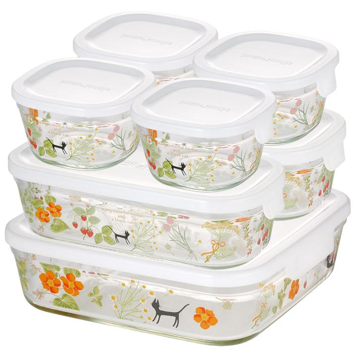 パック&レンジシステムセット colorful herbs PS-PRNSNB7送料無料 保存 容器 調理 料理 猫 AGCテクノグラス 【D】