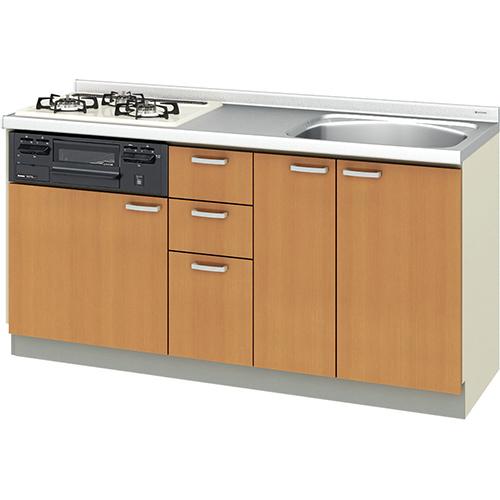 メーカー直送 リクシル 取り替えキッチン パッとりくん GKシリーズ フロアユニット [GK*-U-160XNBC**] 間口160cm ラウンド56シンク 受注生産品