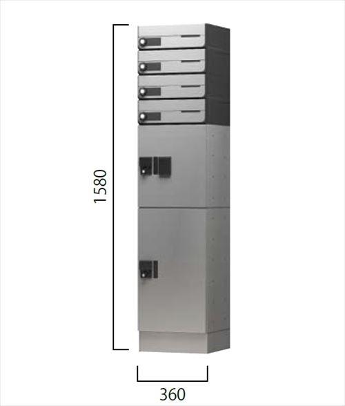メーカー直送 ナスタ 宅配ボックス [NASTA-tokuchu-17] ポスト+プチ宅セット 幅木仕様 4戸用幅木仕様(1列4メール2ボックス)【宅配ボックス】