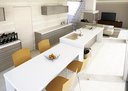 キッチンから続くダイニングテーブルが印象的なオープンキッチン