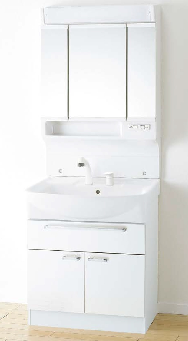 メーカー直送 アサヒ衛陶 洗面化粧台 [LEA001*] シャイニーカベール 間口750mm オーバーストッカータイプ