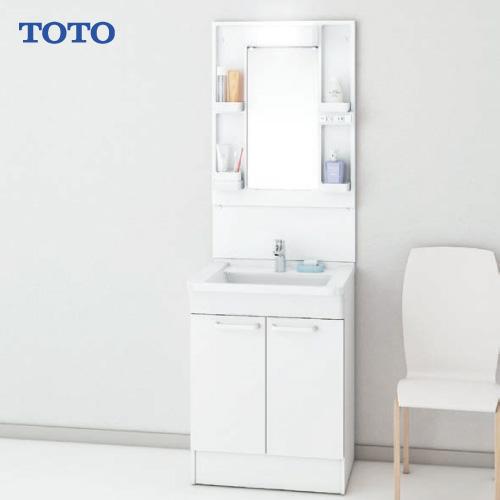 メーカー直送 TOTO Bシリーズ 洗面化粧台セット 一面鏡 + 下台 [LMBA060B1GDG1G+LDBA060BAGMN1A] 600mm エコシングル混合水栓 LEDランプ エコミラーなし