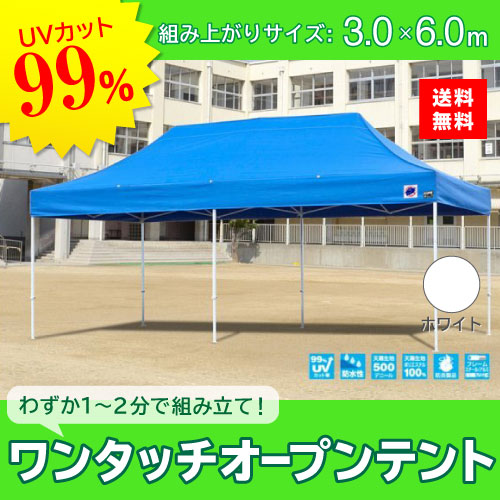 メーカー直送 E-ZUP イージーアップ イージーアップテント 組み立てテント デラックス(スチールタイプ) [DX60-17WH] 3.0m×6.0m 天幕色:白 ホワイト 防水 防炎 紫外線カット99%