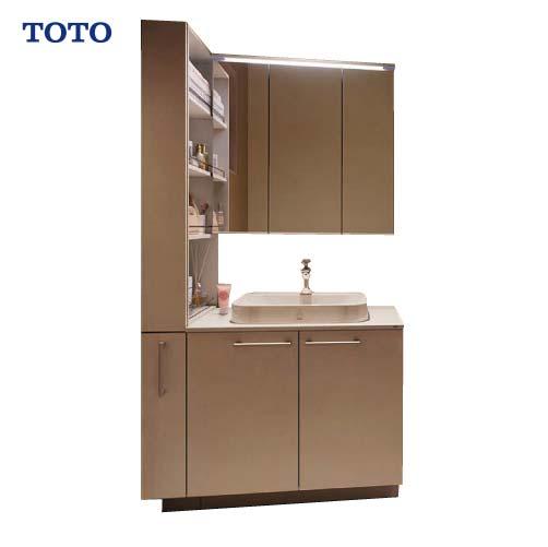 メーカー直送 受注生産 TOTO 洗面化粧台 ドレーナ 間口900mm [ミラー:LMZA075G3MLC1G 下台:LDSZA075AAGAA1R] 木製三面鏡