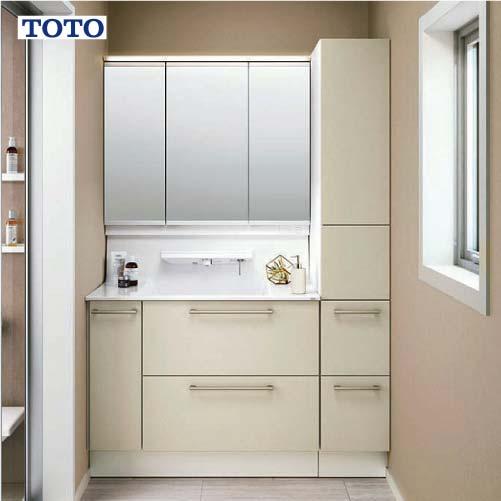 メーカー直送 受注生産 TOTO 洗面化粧台 オクターブ 間口1300mm [ミラー:LMFA100A3SHC1G 下台:LDSFA100BDLAN1R] スウィング三面鏡