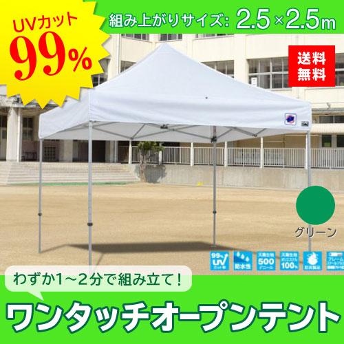 メーカー直送 E-ZUP イージーアップ イージーアップテント 組み立てテント デラックス(アルミタイプ) [DXA25-17GR] 2.5m×2.5m 天幕色:緑 グリーン 防水 防炎 紫外線カット99%