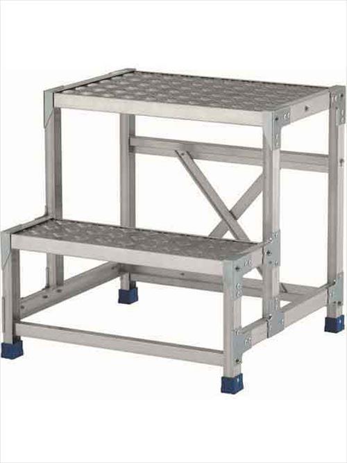 メーカー直送【法人様限定】 アルインコ(ALINCO)作業台 ステンレス金具仕様作業台(天板縞板タイプ)2段天板高さ600mm [CMT-266S]  送料別途見積り