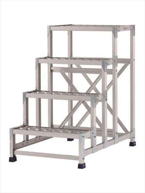 メーカー直送【法人様限定】 アルインコ(ALINCO)作業台 ステンレス金具仕様作業台(天板縞板タイプ)4段天板高さ1000mm [CMT-4106S]  送料別途見積り