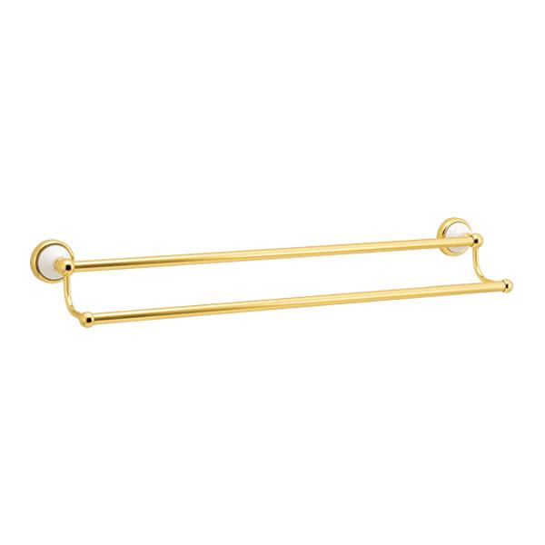 ゴーリキアイランド 真鍮 ダブルタオルバー(セラミックシリーズ) 金色 680ミリタイプ【 アンティーク ブラス 雑貨】 [640138]