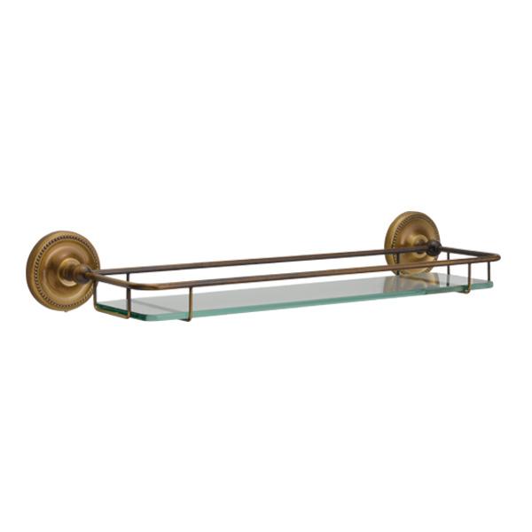 ゴーリキアイランド 真鍮 ガラスシェルフ(Polish Brassシリーズ) アンティークブラス【 アンティーク ブラス 雑貨】 [640622]