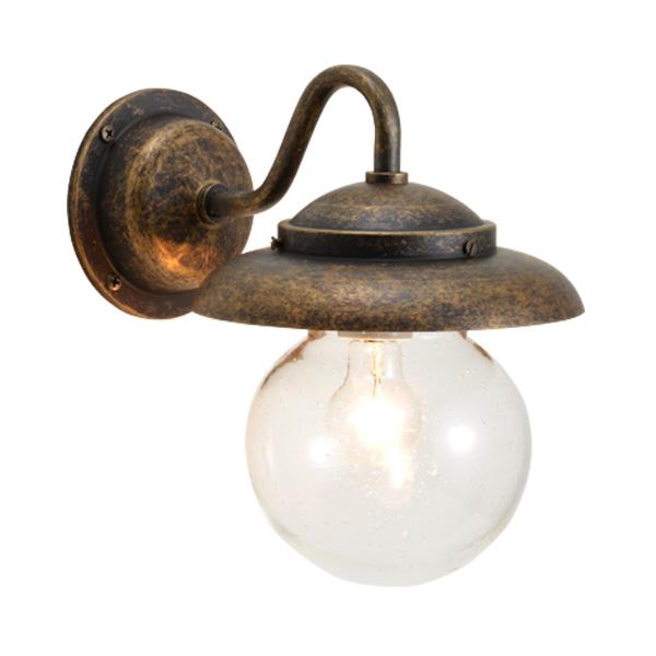 ゴーリキアイランド 真鍮 ブラケットランプ(泡入りガラス&普通球)BR1771 BU 軒下用 防滴 古色【 アンティーク ブラス 雑貨】 [700481]