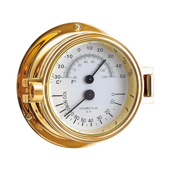 ゴーリキアイランド 真鍮 温湿度計 金色 Bタイプ【 アンティーク ブラス 雑貨】 [710211]