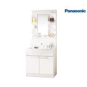 洗面化粧台 セット 750mm [GQM75K1NMK + GQM75KSCW] 蛍光灯1面鏡仕様 くもりシャットなし エムライン シングルレバーシャワー混合水栓 パナソニック