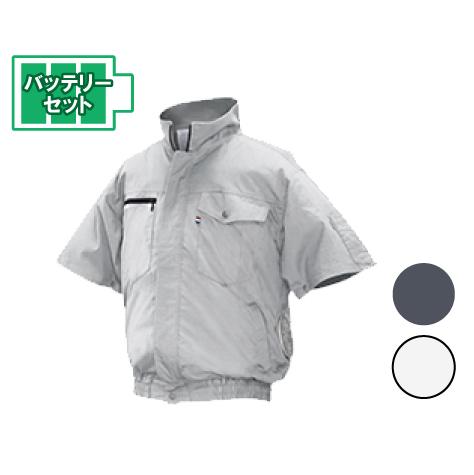 NSPオリジナル 空調服 バッテリーセット [ND-201A] 作業着 綿・タチエリ・胸ポケット・半袖