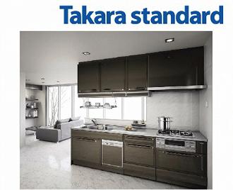 送料無料 システムキッチン タカラスタンダード リテラ 扉カラー:ブラウン 60cmハイパーガラスコートトップガスコンロ